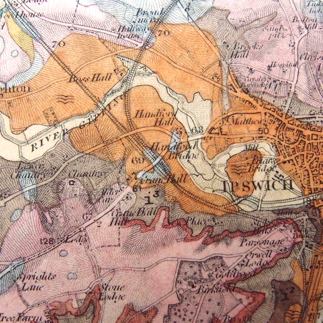 Ipswich Uk Map.Antique Geological Map Of Part Of Essex And Suffolk Ipswich Hadleigh